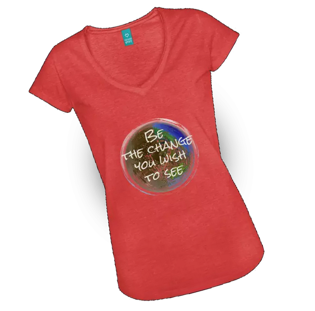 T-shirt displaying Be the Change